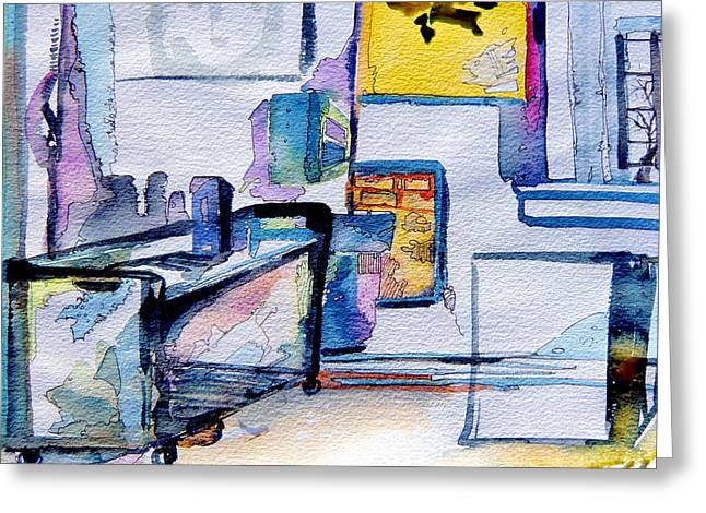 The Artists Studio Greeting Card by Mindy Newman