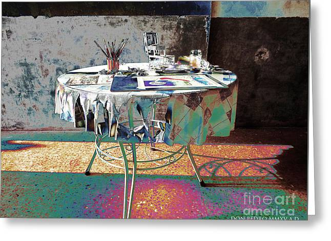 The Artists Table Greeting Card by Don Pedro De Gracia