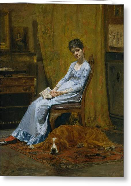 The Artist's Wife And His Setter Dog Greeting Card by Thomas Eakins
