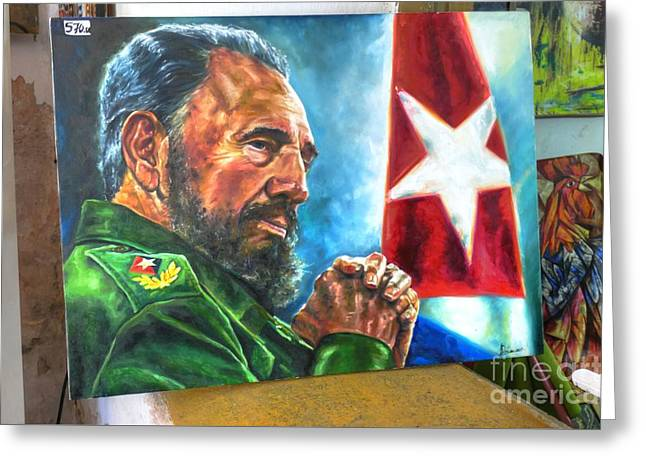 The Arts In Cuba Fidel Castro 2 Greeting Card by Wayne Moran