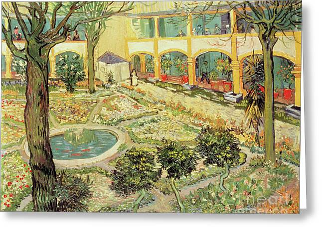Vincent Paintings Greeting Cards - The Asylum Garden at Arles Greeting Card by Vincent van Gogh
