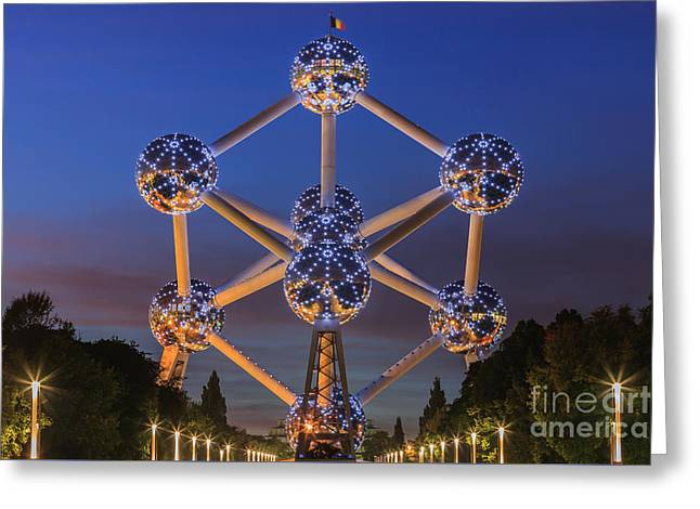 The Atomium In Brussels During Blue Hour Greeting Card by Henk Meijer Photography