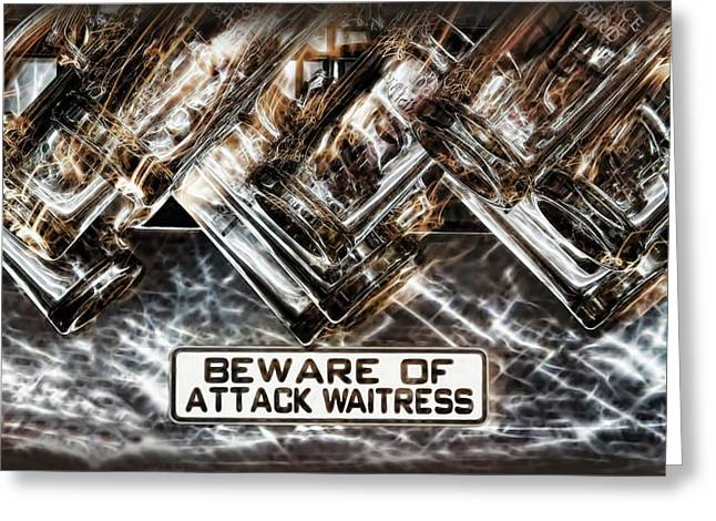 The Attack Waitress  Greeting Card by Joan  Minchak