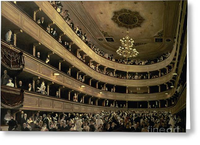 The Auditorium Of The Old Castle Theatre Greeting Card by Gustav Klimt
