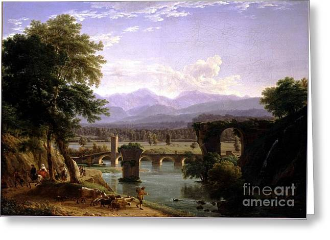 The Augustan Bridge On The Nera River Greeting Card by MotionAge Designs