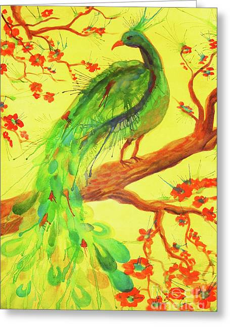 Greeting Card featuring the painting The Auspicious Peacock by Angelique Bowman