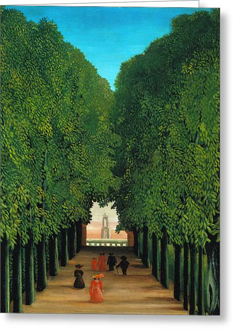 The Avenue In The Park At Saint Cloud Greeting Card by Henri Rousseau