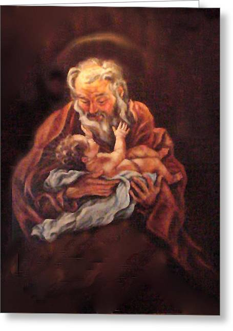 Greeting Card featuring the painting The Baby Jesus - A Study by Donna Tucker