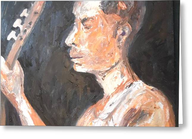 Greeting Card featuring the painting The Baglama Player by Esther Newman-Cohen