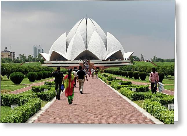 The Bahai Temple Delhi India Greeting Card