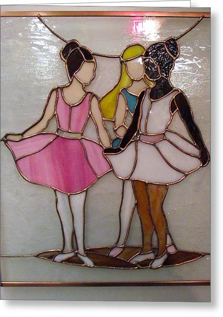 Ballet Glass Greeting Cards - The Ballet Dancers in Stained Glass Greeting Card by Arlene  Wright-Correll