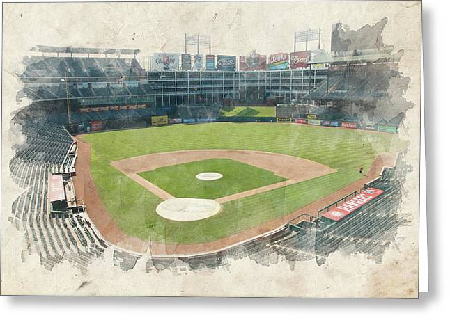 Baseball Art Print Greeting Cards - The Ballpark Greeting Card by Ricky Barnard