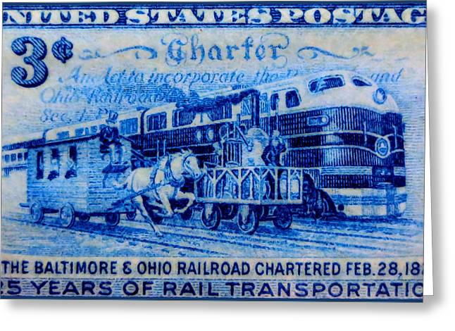The Baltimore And Ohio Railroad Charter Stamp Greeting Card by Lanjee Chee