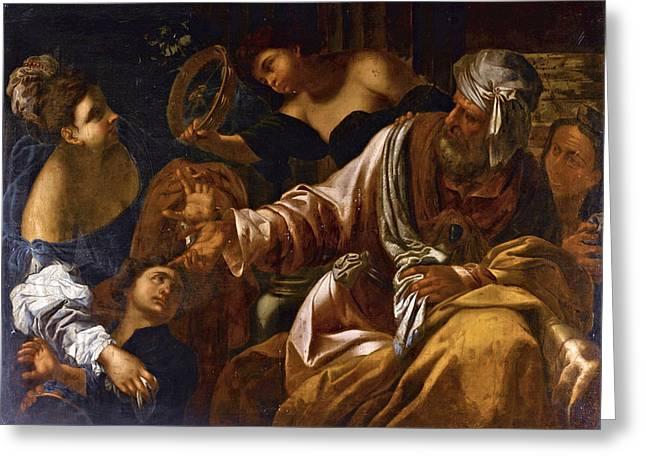 The Banishment Of Hagar And Ishmael Greeting Card by Follower of Francesco Ruschi