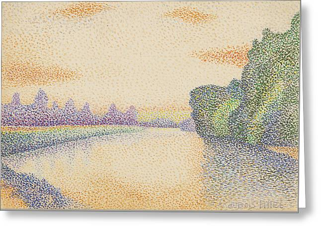 The Banks Of The Marne At Dawn Greeting Card by Albert Dubois-Pillet