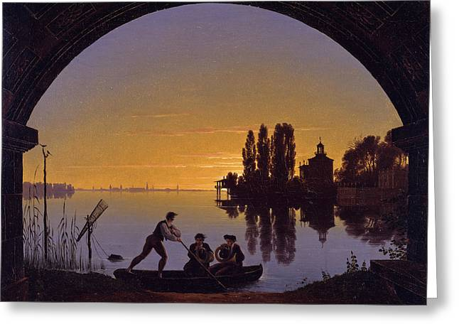 The Banks Of The Spree At Stralau Greeting Card by Karl Friedrich Schinkel
