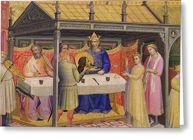 The Banquet Of Herod Greeting Card by Lorenzo Monaco