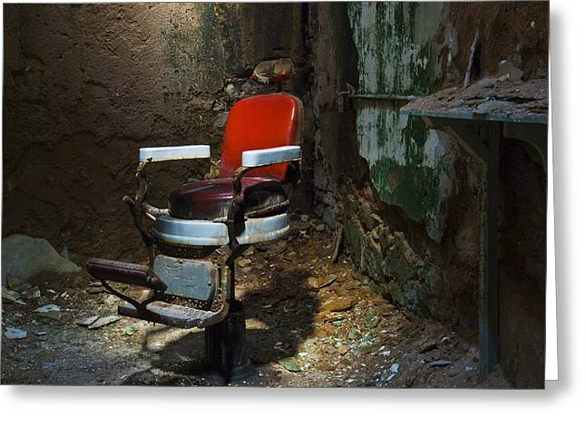 The Barber Chair Greeting Card by Eric Harbaugh