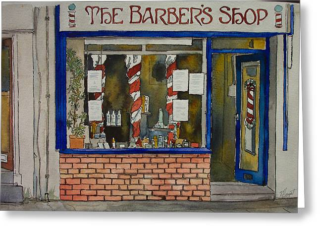 The Barber Shop Greeting Card by Victoria Heryet
