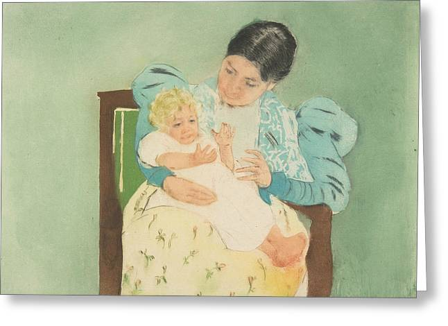 The Barefooted Child Greeting Card by Mary Cassatt