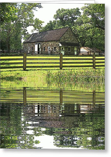 The Barn And The Pond Pennsbury Manor Greeting Card by Valerie Stein
