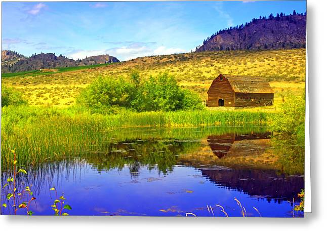 The Barn And The Pond Greeting Card by Tara Turner
