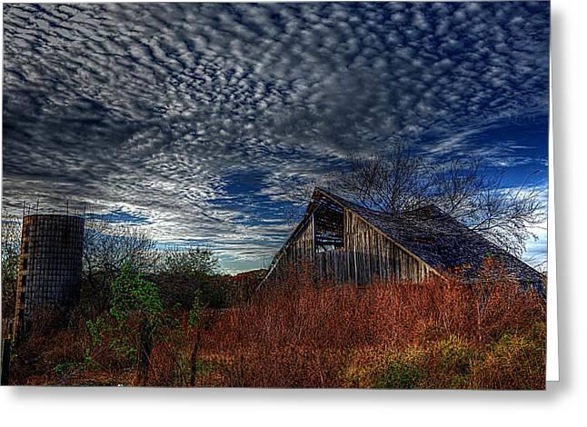 The Barn At Twilight Greeting Card by Karen McKenzie McAdoo