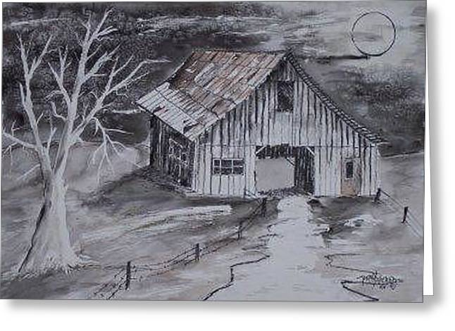 The Barn Country Pen And Ink Drawing Greeting Card