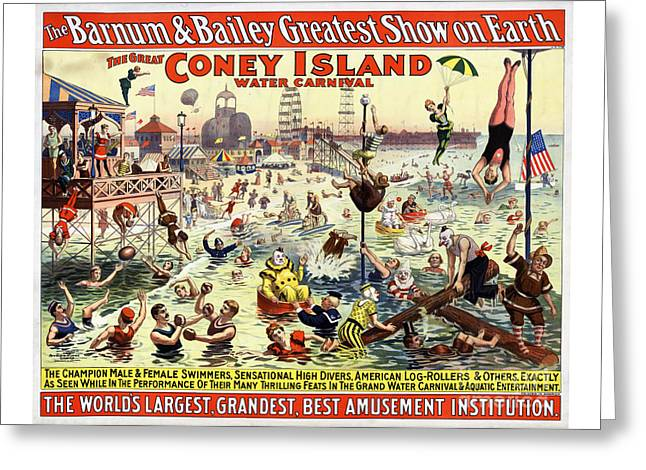 The Barnum And Bailey Greatest Show On Earth The Great Coney Island Water Carnival Greeting Card