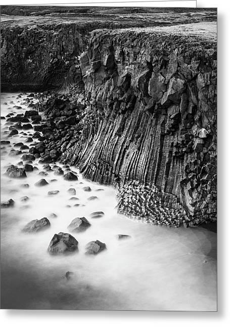 The Basalt Cliff Of Arnarstapi Greeting Card