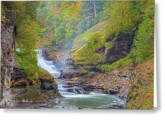 The Bashful Lower Falls Greeting Card by Angelo Marcialis