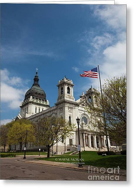 The Basilica Of Saint Mary Minneapolis Springtime 3  Greeting Card by Wayne Moran
