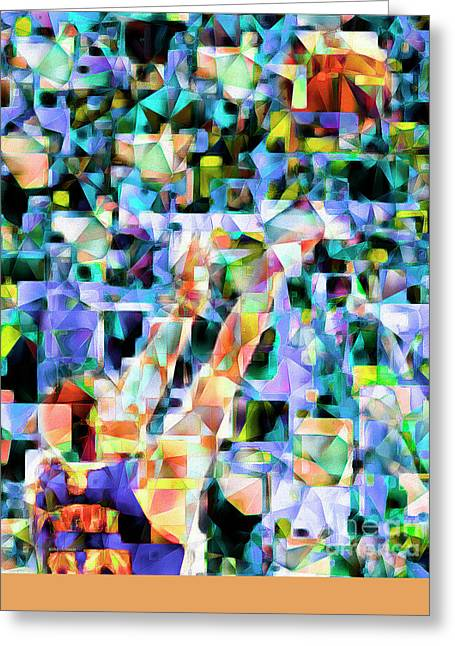 The Basketball Jump Shot In Abstract Cubism 20170328 Greeting Card by Wingsdomain Art and Photography