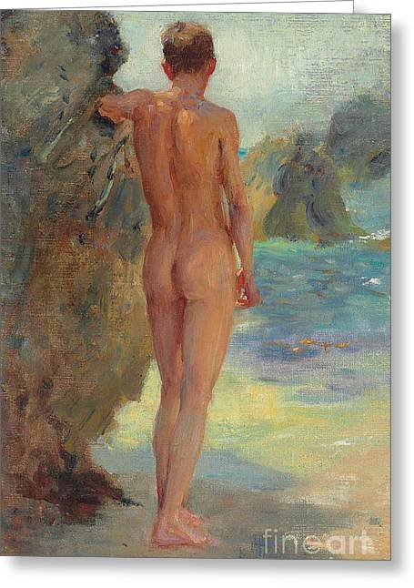 The Bather, 1912 Greeting Card by Henry Scott Tuke