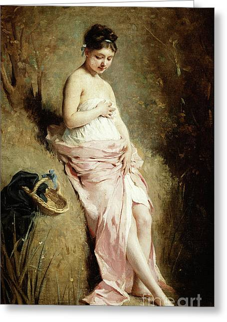 The Bather Greeting Card by Charles Joshua Chaplin