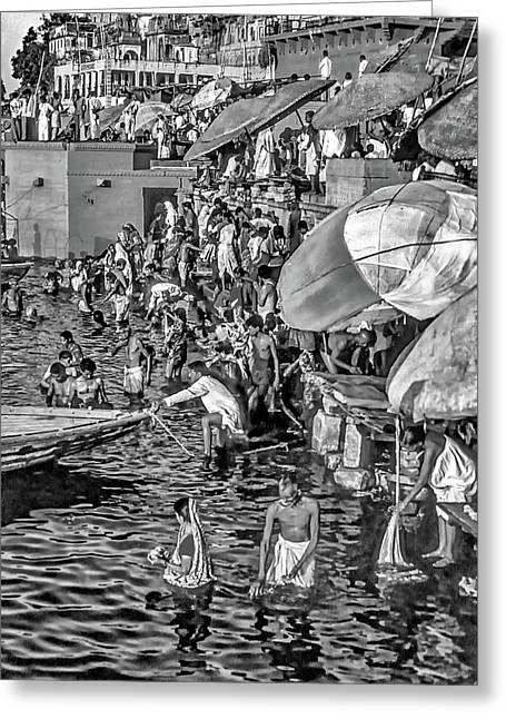 The Bathing Ghats Bw Greeting Card