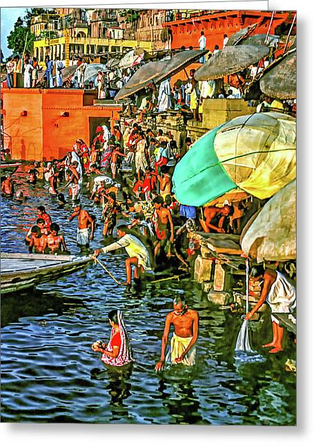 The Bathing Ghats Greeting Card