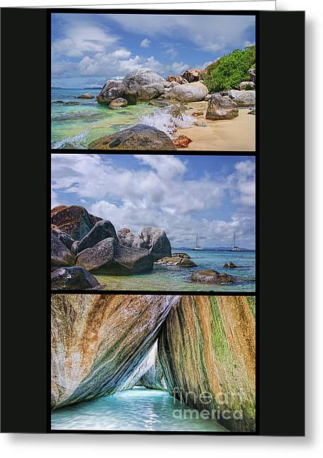 The Baths Virgin Gorda National Park Triptych Greeting Card