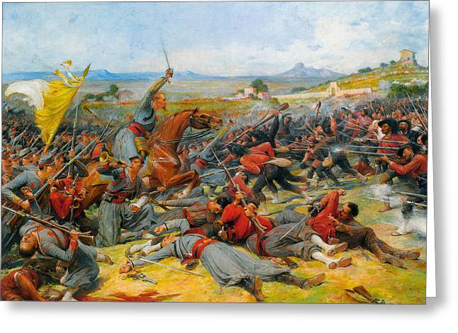 The Battle Near Mentana Greeting Card by Lionel-Noel Royer