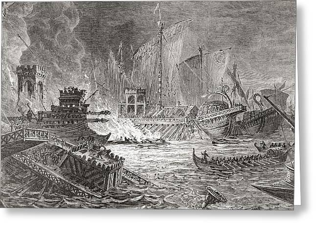 The Battle Of Actium, At Which Octavian Greeting Card by Vintage Design Pics