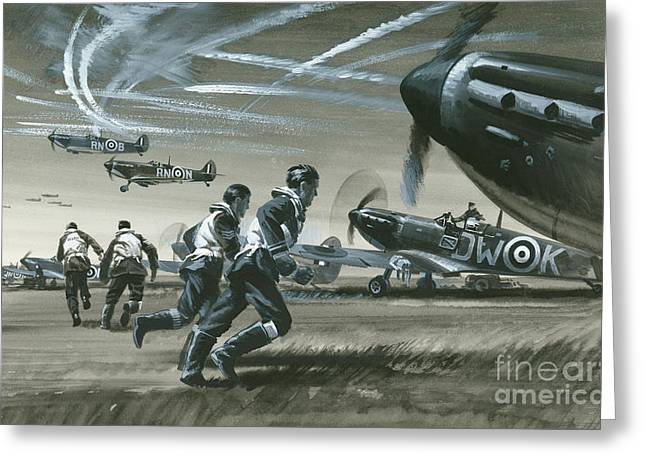 The Battle Of Britain Greeting Card by Wilf Hardy