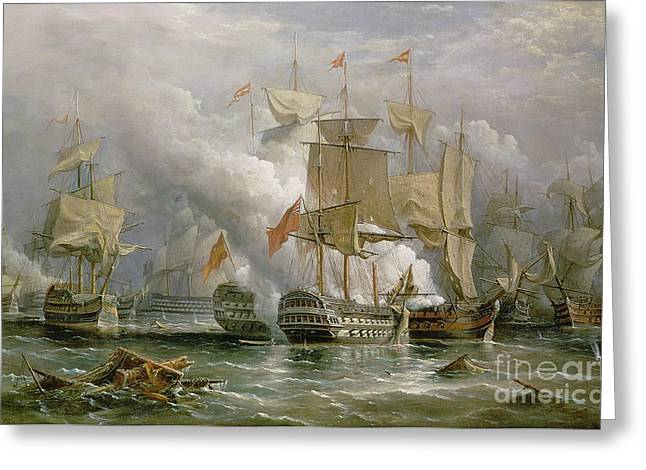 Sailboat Ocean Greeting Cards - The Battle of Cape St Vincent Greeting Card by Richard Bridges Beechey