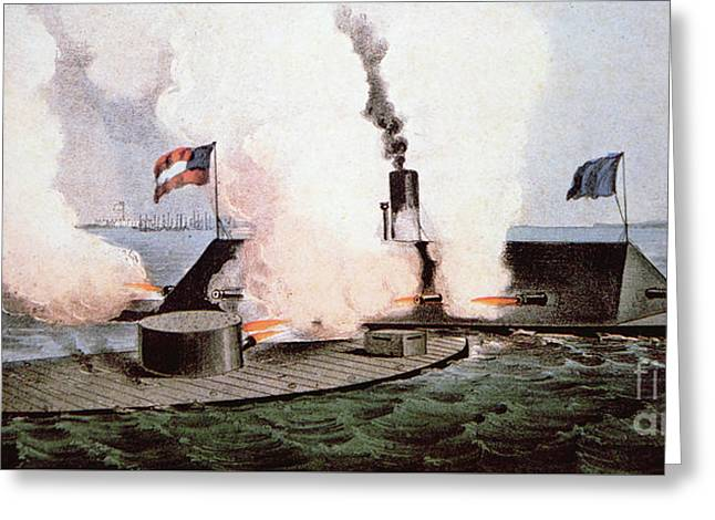 The Battle Of Hampton Roads Greeting Card