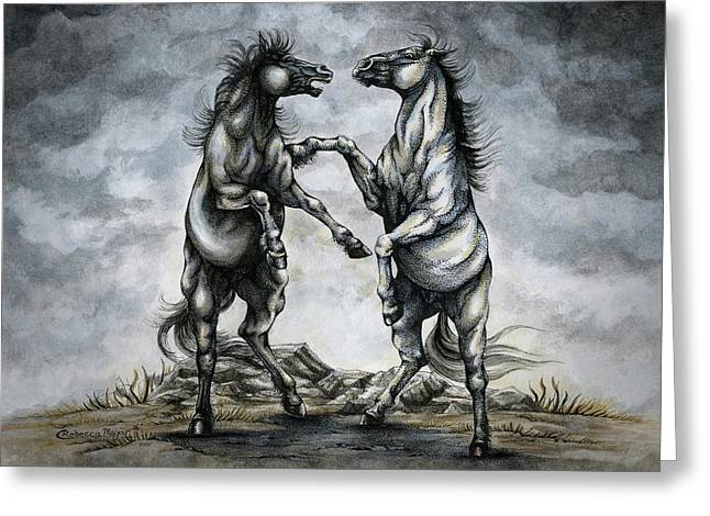 The Battle Of Horses Greeting Card