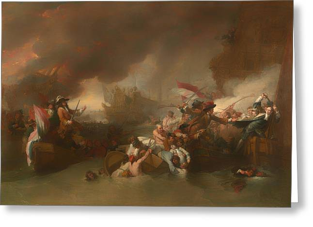 The Battle Of La Hougue Greeting Card by Mountain Dreams