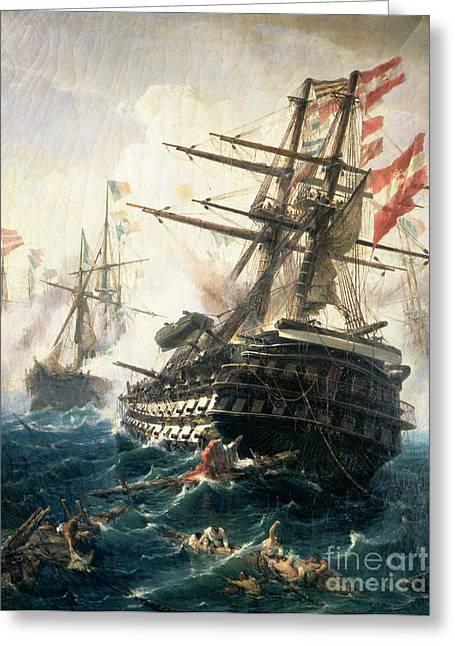 High Seas Greeting Cards - The Battle of Lissa Greeting Card by Constantin Volonakis