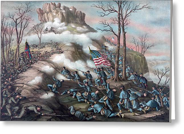 The Battle Of Lookout Mountain Greeting Card by American School