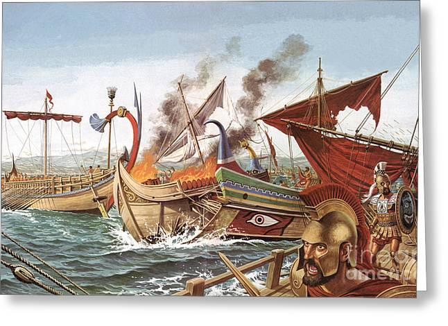 The Battle Of Salamis Greeting Card by English School