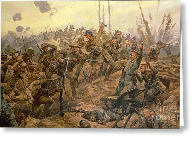 The Battle Of The Somme Greeting Card by Richard Caton Woodville II