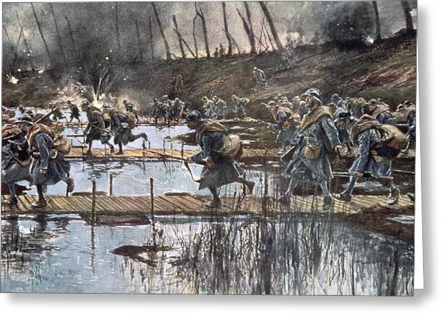 The Battle Of The Yser In 1914 Greeting Card by Francois Flameng